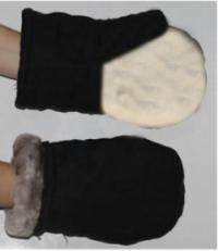 Рукавицы утеплённые (диагональ, натуральный мех) со спилковым наладонником