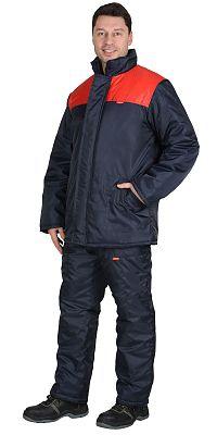 Куртка зимняя ЭКОНОМ синяя с красным