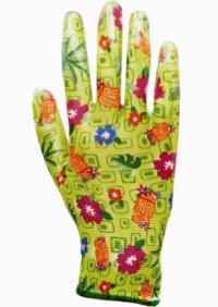 """Перчатки """"САДОВЫЕ"""" (100%нейлон 13-го класса вязки,с принтом, покрытие-прозрачный нитрил)"""