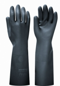 "Перчатки ""БЛЭК ГАУНТЛЕТ"" р.M,L,XL,XXL (латекс, без хлопкового слоя, толщ.0,80мм, дл.450мм.)"