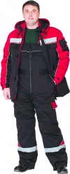 """Костюм """"Специалист""""  куртка с п/к красный с чёрным"""